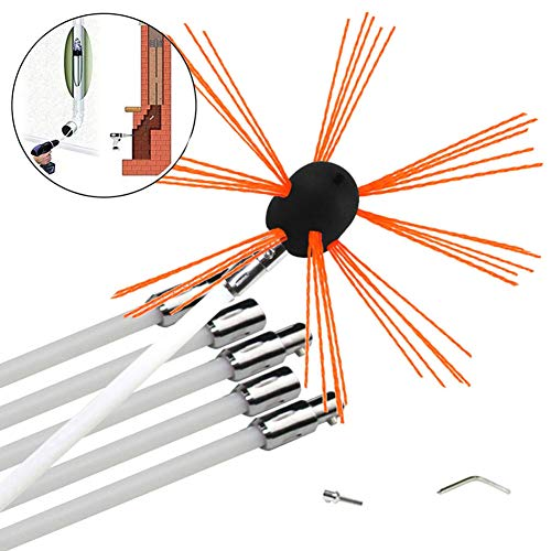 Best Buy! NANANA Chimney Cleaning Brush Kit, Chimney Cleaning Brush Fireplace Flue Sweep Whip Cleane...