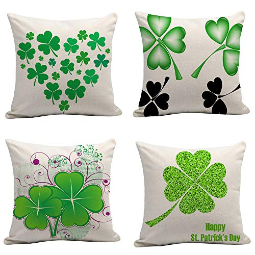 Throw Pillow Case Cotton Linen Pillow Covers Outdoor Seat Cushions Four-Leaf Clover Green Cushion Cover Sofa Bed Home Car Decor Soft Cushion 4 Pcs 45X45Cm (With Invisible Zipper)