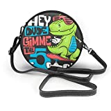 Bolso redondo mujer Shoulder Bags Women Round Bags Skateboard Dinosaur Urban T-Shirt Print Design, Vector Illustration Crossbody Leather Circle Bag