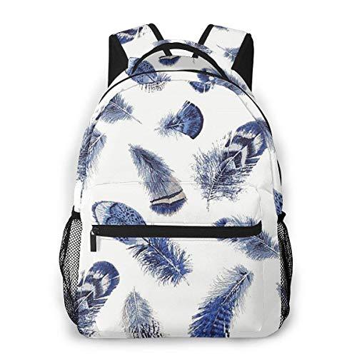 Laptop Bags,Adult Travel Rucksack,Lightweight College Book Bags,Boys Girls Casual Backpack,Men Women Daypack,Birding Feather Blue