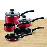 Tefal A161S545 Bistro Aluminium Cookware Set, 5 Pieces - Red