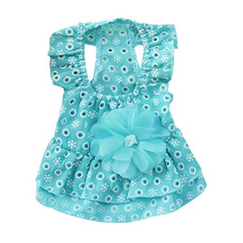 POPETPOP Vestido de Flores de Encaje para Perro Falda de Gasa Vestidos de Princesa para Gato Perro Mascota (Azul, S)