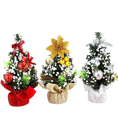 Oyfel Christmas Arbol de Navidad Artificial Abeto Pino Pequeno Maceta Mini Miniatura...