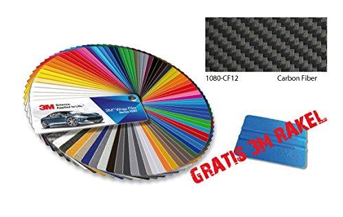 3M Wrap Folie Serie 1080 Carbon Folie zwart 152 cm x 20 cm + gratis 3M rakel blauw, NIEUW serie van 3M voor voertuigvoertuigen volledige verlijming Scotchcal 1080, 3D vervormbaar met luchtkanalen, top voor interieurstrips