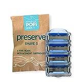 Preserve POPi Shave 5 Replacement Cartridges for Preserve POPi Shave 5 Razor, 4 Count