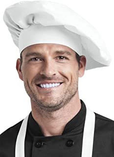 Professional Chef Toque (One Size Fits Most, 2 Colors) (White)