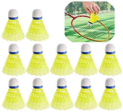 12 Stücke Badmintonbälle, Yokunat Badminton Federbälle Dauerhaft Nylon Shuttlecocks Ausbildung Kunststoff Badminton mit Stabilität und Haltbarkeit für Innenaktivitäten Und OutdoorAktivitäten - Gelb