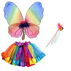 Perfect for Girls - Look Like A Fairy Rainbow Ribbon Tutu, Large Wings & Wand Included Colourful & Fun, Product Dimensions: Great Gift for Birthdays, Christmas, etc... - Guaranteed Smile 100s of Fancy Dress Accessories & Sets Available at London Acce...