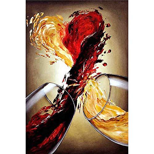 DIY 5D Diamant Schilderij Kit Rode Wijn en Oranje Sap Wijn Glas Olie Schilderen Cross Stitch Home Decoratie Diamant Borduren Mozaïek Kunst 15,7 × 19,7 Inch $ Null