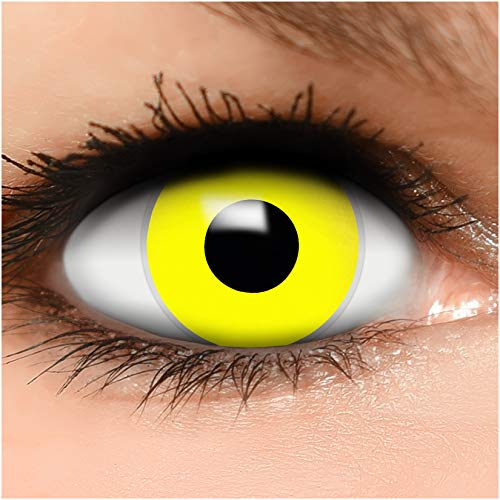 Farbige Kontaktlinsen Gelb in gelb + Behälter - Top Linsenfinder Markenqualität, 1Paar (2 Stück)