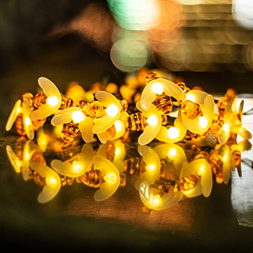 ITICdecor Solar Fairy Lights Outdoor 50 LED Bee Fairy Lights 7.5 m 8 Modes Waterproof Lighting Indoor / Outdoor for Garden, Trees, Patio, Christmas, Weddings, Parties (Warm White)