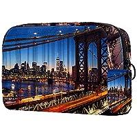 化粧ポーチ、化粧品収納バッグ、コスメティックバッグマンハッタンとブルックリン橋 ストレージラージポケットジッパー