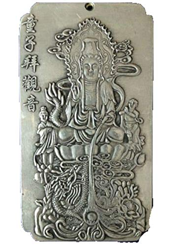 Fashion158 - Ciondolo Rettangolare in Argento Tibetano con amuleto Portafortuna – Tong Zi Bai Guanyin