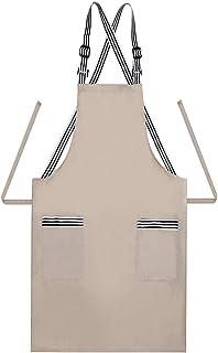 JSDing Delantal Cocina Tirantes Ajustables con 2 Bolsillos, Algodón Largo Delantales de Cocina Mujer Hombre para Hogar, Restaurante, cafetería, Barbacoa, jardinería,Limpieza