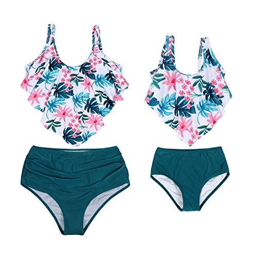 AmzBarley Moeder Dochter Zwemmen Kostuums Womens Meisjes 2 Stuk Badpak Tankini Set Ouder Kind Badpak Vintage Ruched Floral Bikinis Badmode