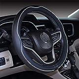 Cubierta de volante de cuero de microfibra 38 cm para la mayoría de los autos (Blanco negro)