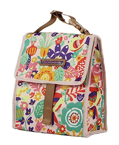 Lily Bloom Foldover Insulated Lunch Box / Portable Cooler Bag for Women (Tulips and Tweets)