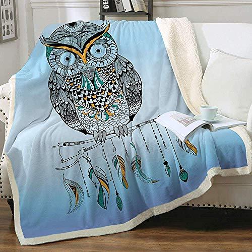 Eulenfedern Sherpa Decke Boho Tribal Owl Superweiche Wende-Decke Ultra Luxuriös Pastellblau Plüschdecke