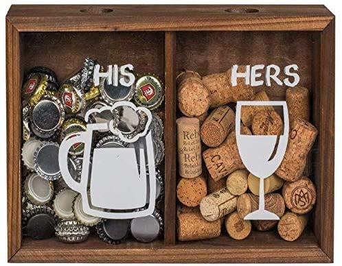 KMC Austria Design Caja para coleccionar tapas de bebidas, de madera, para chapas y tapones de vino, 29 x 20 x 7 cm, dos compartimentos separados, HIS & Hers
