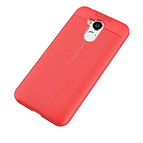 Tianqin Huawei Honor 6A Funda, Ultra Ligero Case Amortiguaci¨®n Rugged Silicona Ultra Delgado Cubierta Protectora Fibra Carbono Caso para Huawei Honor 6A Case - Rojo