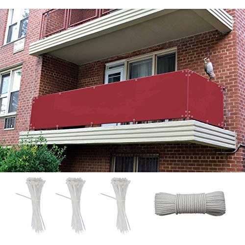 AZLAO Paravento per Balconi 100x500cm Sichtschutz und Windschutz Balkonverkleidung Mit Ösen und Kordel Deko für Balkongeländer