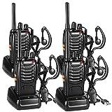 Walkie Talkie Recargable Bidireccional Transmisores-receptores Radio 16 Canales 1500mah CTCSS DCS, con el Auricular Incorporado Antorcha de LED (4PCS)