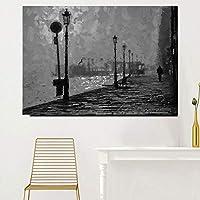 """抽象絵画装飾絵画通りと川の風景写真家の装飾アートの白黒プリント-60x80cm / 23.6""""x31.5""""フレームなし"""