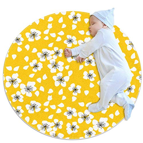 Fantastic Deal! Yellow Blossom Baby Game Blanket, Baby Round Circular Kid Game Mat Thicken Baby Craw...