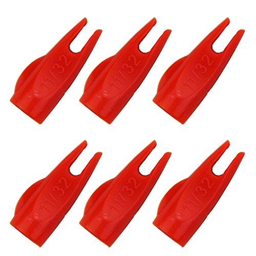Mangobuy 50pcs 11/32 Flecha Nock Amarillo/Verde para OD9mm De Madera y Flecha De Bambú Flecha Tradicional Al Aire Libre De Arco (Rojo)
