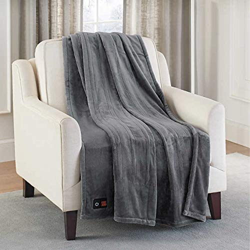 Brookstone Luxurious Electric Heated Throw 4-Heat Settings Easy One Touch Built-in Remote (Charcoal)