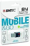 Emtec Mobile & Go 64GB 64GB USB 3.0/Micro-USB Negro, Plata Unidad Flash USB - Memoria USB (USB 3.0 (3.1 Gen 1), USB 3.0/Micro-USB, Type-A, Slide, Negro, Plata, Ampolla)