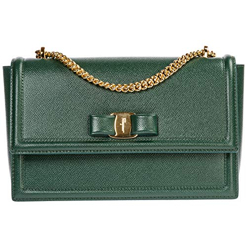 Salvatore Ferragamo borsa a tracolla fiocco vara donna pine green