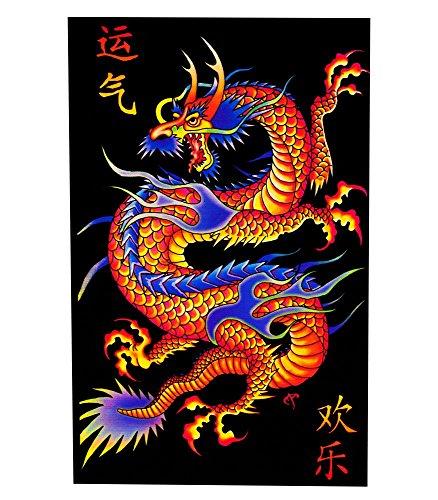 Asian Dragon Flocked Blacklight Poster 23 x 35in