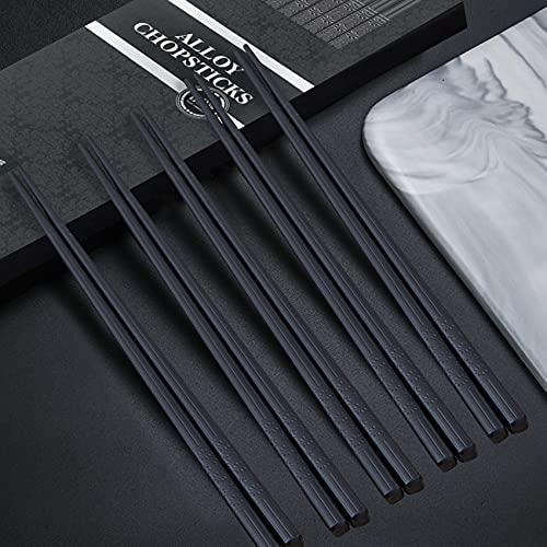 JeoPoom 5 Pares Palillos de Aleación, Restaurante Reutilizable Lavables Lujoso Palillos con Caja Hecha A Mano Negra, Set de Regalo de Palillos(24.3cm) ⭐