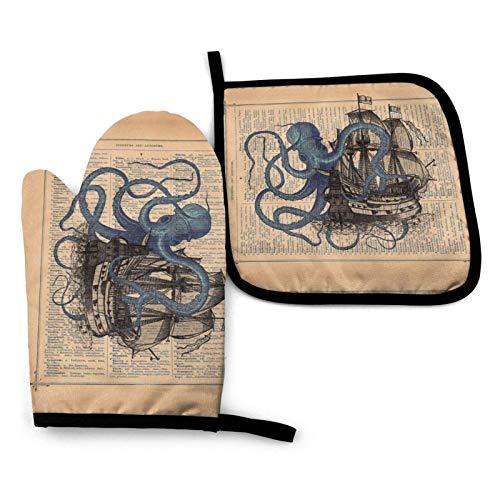wenxiupin Juego de manoplas de horno y soportes para ollas, Ocean Octopus náutico barco pirata bandera resistente al calor guantes y agarradera para cocina, hornear, parrilla, servir, barbacoa o cena