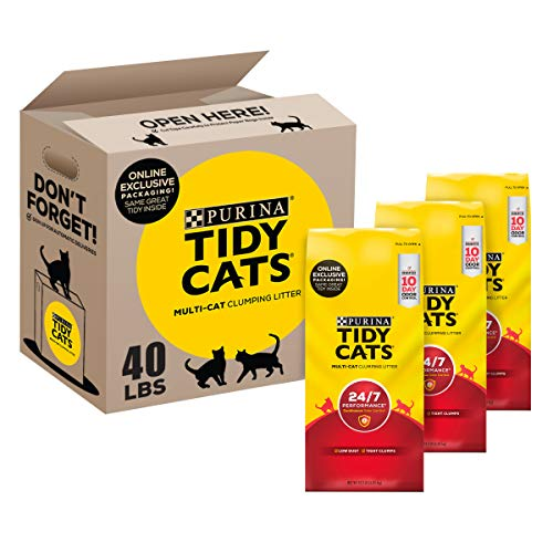 Tidy Cats Clumping Cat Litter, 24/7 Performance, Clay Cat Litter, Recyclable Box - (3) 13.33 lb. Bags