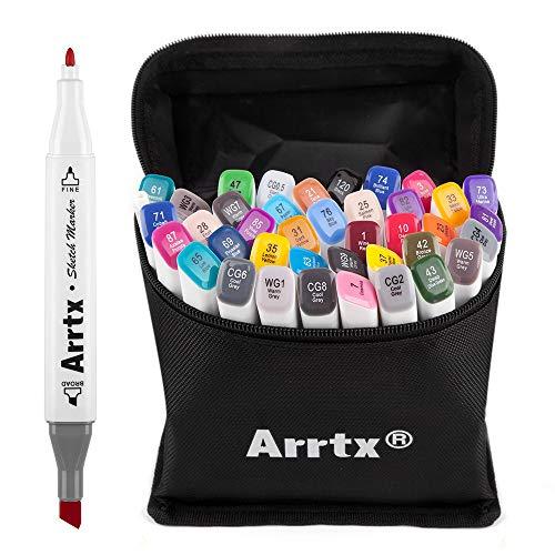 Marcadores Arrtx 40 cores à base de álcool, ponta dupla, marcadores artísticos com bolsa de transporte para ilustração de retrato, desenho, colorir