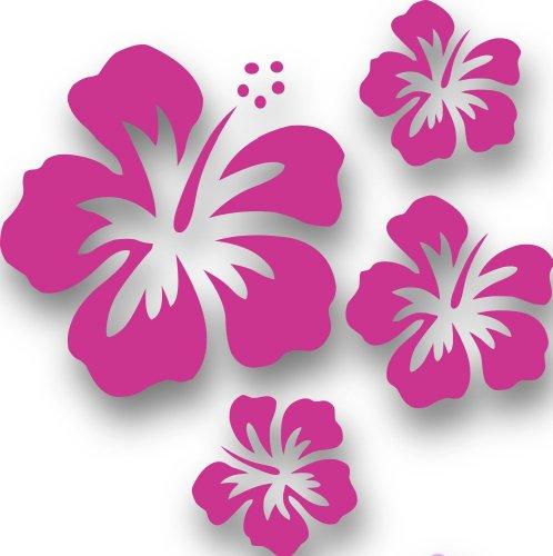 MIXED SET HIBSIKUS Blüten, 4 Stück pinke Autoaufkleber Blumen Sticker Outdoor, Wandtattoo & Fensterbild Hibiscus Hawaii