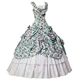 Women Gothic Victorian Dress Civil War Southern Belle Tea Party Ball Gown CosplayCostume S Blue