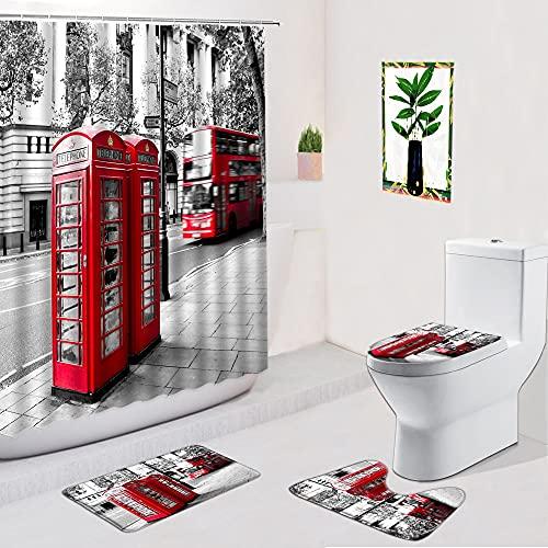 AETTP Cabina De Teléfono con Paisaje De London Street Cortinas De Ducha De 4 Piezas Edificio Antiguo Alfombra De Baño Antideslizante Alfombra De Baño Inodoro 180 * 180cm
