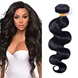 60cm Extensiones de Cortina Pelo Natutal Humano [Brazilain Human Hair Bundles] Rizado Body Wave (1 Bundle,#1B Negro Natural)