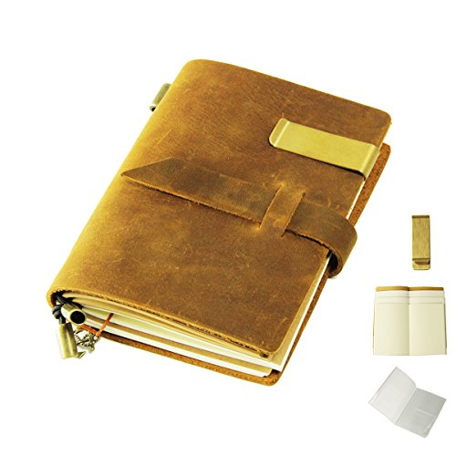 ScrodCatレザージャーナルライティングノート - 13.5cm * 10cmリペイブルページ - アートスケッチブック、旅行日記、ノートブック(イエロー)の100%手作り&パーソナライズパーフェクトギフト