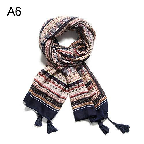 MYTJG Lady sjaal vrouwen bedrukken sjaal mode dames afdrukken zachte bloem katoen sjaal katoen sjaal warm en comfortabel