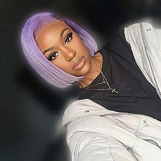 ZHANGXIUZHU WIG 10inch Fashion Light Purple Bob Hair Synthetic Hair Lace Front Wig For Women 150% Density