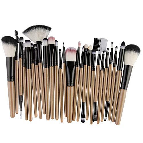 Cwemimifa Mascara-Bürsten,25pcs Cosmetic Makeup Brush Blusher Eye Shadow Brushes Set Kit,Gelb