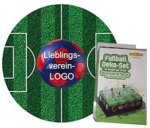 Tortenaufleger DekoSet + Fußballfeld rund 20cm mit Wunschverein