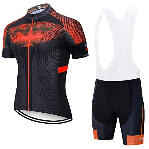 ADKE Set di abbigliamento da ciclismo da uomo, tuta MTB, maglia a maniche corte + 3D gel, pantaloncini estivi, abbigliamento da ciclismo (XXL, NW-BK2)