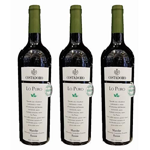 3x vino Rosso Marche igp LO PURO, biologico vegano, SENZA SOLFITI, cantina Costadoro, San Benedetto del Tronto, Ascoli Piceno, Italy, prodotto tipico marchigiano