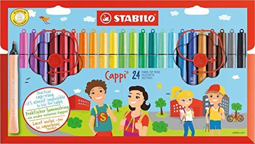 Rotulador escolar con sujeción triangular STABILO Cappi - Estuche de 24 colores - Incluye anilla para no perder los tapones