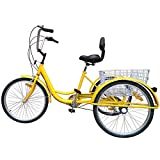 FVSTR【US Stock】 Mixed Color Yellow or Black 24 Inch Adult Tricycle Trike 3 Wheel Bike 6 Speed Shift 6-Speed Shimano Gears, Scout Trike + Shopping Basket with seat